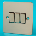 Varilight 3 Gang 1 or 2 Way 10A Rocker Light Switch Ultra Flat Mirror Chrome XFC3D